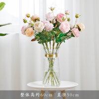【品牌热卖】仿真牡丹花假花家居客厅装饰干花餐桌摆件玫瑰花束婚庆花瓶插花