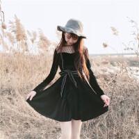 早春新款女装拼接镂空网纱花边气质丝绒配腰带学生长袖打底连衣裙
