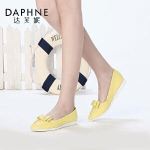 Daphne/达芙妮春季新款 头层羊皮真皮蝴蝶结平底休闲小白鞋女单鞋