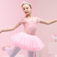 儿童舞蹈服夏季幼儿短袖练功服女童芭蕾舞裙蕾丝裙中国舞服考级服