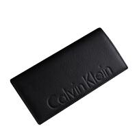 CK钱包长款男正品CalvinKlein真皮多卡位对折钱包黑色男卡包79473