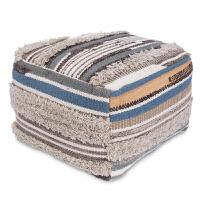 印度进口手工简约北欧宜家田园羊毛软包凳脚凳沙发凳家居墩子 45x45x35cm