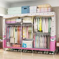 简易布衣柜省空间组装推拉门衣柜卧室钢管柜子简约现代经济型衣橱 2门