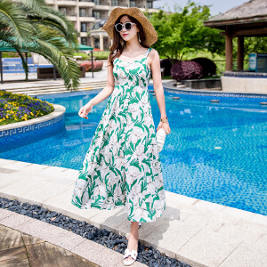 RANJU 然聚2018女装夏季新品新款时尚印花波西米亚露背长裙沙滩裙