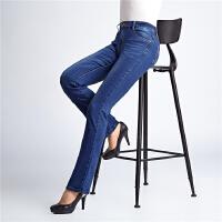 中老年春秋款牛仔裤中年妈妈装加肥加大码女式修身牛仔微喇叭长裤