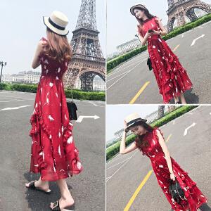 RANJU然聚2018女装春季新品新款韩版甜美网纱拼连衣裙中长款喇叭袖高腰裙