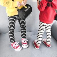 小童女宝宝打底裤女童黑白条纹坑条弹力长裤薄款外穿春季2018新款