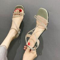 户外性感时尚凉鞋韩版女士中跟鞋气质女鞋ins晚晚鞋
