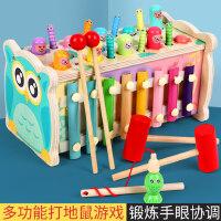 木质打地鼠玩具0幼儿童益智力婴儿1一2岁半3男孩女孩宝宝敲打大号