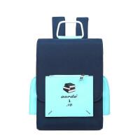 双肩包女新款韩版校园背包14寸电脑包潮男学院风学生书包nt 宝蓝撞薄荷色