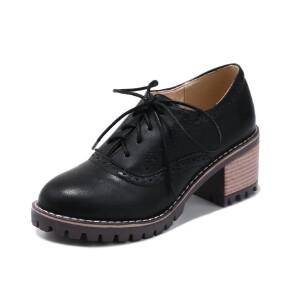 O'SHELL法国欧希尔新品099-9561韩版超纤皮中跟女士布洛克鞋
