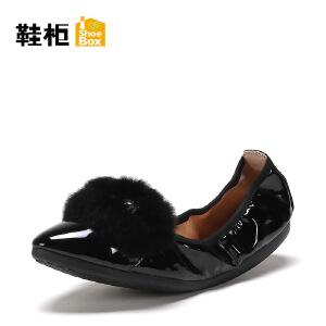 Daphne/达芙妮旗下 鞋柜尖头蛋卷平底单鞋毛毛女鞋