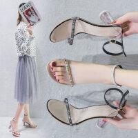 女士高跟鞋中空露趾凉鞋女 韩版百搭圆跟罗马鞋女 一字扣带网红风透明跟凉鞋