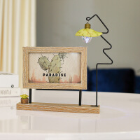 相框摆台创意欧式6寸北欧ins双面旋转木质相架带灯卡通像框洗照片礼物 +洗照片2张+礼袋