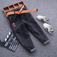 男童牛仔裤冬季儿童宽松长裤秋装中大童洋气小脚加绒裤子