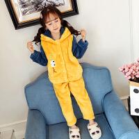女童珊瑚绒睡衣秋冬季儿童法兰绒女孩小孩套装