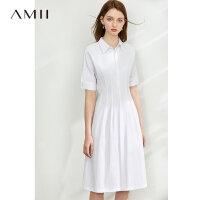 Amii�O���雅全棉白色�B衣裙2020夏新款暗�T襟短袖收腰修身女裙子