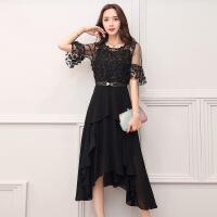 2017年夏季新品女装短袖长裙拼接蕾丝气质圆领高腰喇叭袖连衣裙 QRES1750黑色
