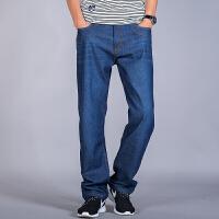 秋季宽松牛仔裤男黑蓝色加大码牛仔裤粗腿裤加肥胖子休闲直筒长裤