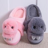 毛毛绒拖鞋女冬季厚底包跟可爱韩版情侣室内居家居保暖月子棉拖鞋