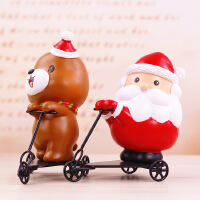 创意圣诞老人滑板车树脂工艺品zakka圣诞熊摆件圣诞节用品礼品