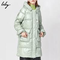 【不打烊价:849元】 Lily2019冬新款女装光泽感娃娃领连帽白鸭绒加厚中长款羽绒服1995