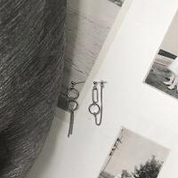 s925银耳饰不对称圈圈链条耳环街头港风耳钉封帆网红同款 不对称1对