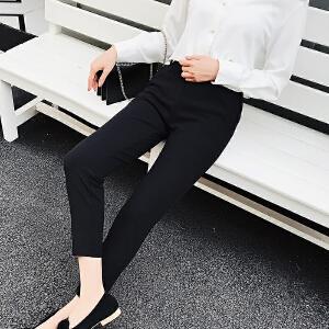 AGECENTRE 2018春装新款 春季哈伦裤女九分裤春夏新款韩版高腰宽松休闲小脚西装裤子