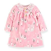 甜美女童法兰绒家居服女童装秋冬新款珊瑚薄绒睡裙女儿童长袖睡衣