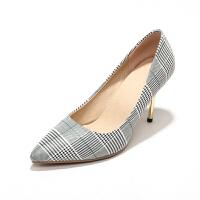 ELEISE美国艾蕾莎新品150-88-2英伦格子布高跟尖头女士单鞋