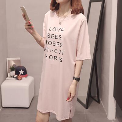 RANJU 然聚2018女装夏季新品新款宽松半袖t恤女短袖中长款bf韩版学生上衣