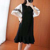 大码连衣裙女2021年夏季新款学院风宽松蝙蝠袖遮肉显瘦荷叶边裙子