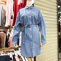 韩国ulzzang2018春装新款Polo领单排扣长袖系带牛仔连衣裙中裙女