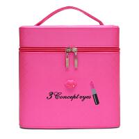 七夕礼物大容量化妆包可爱双层手提化妆箱大号护肤化妆品多层收纳盒小方包 玫红色