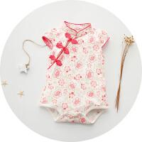 婴儿连体衣服季宝宝装哈衣新生儿睡衣短袖0岁满月3个月