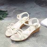 小清新坡跟凉鞋女户外时尚韩版学生百搭配裙子的鞋休闲温柔鞋