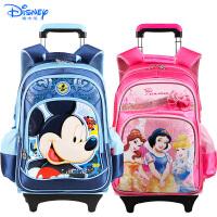 Disney/迪士尼 公主小学生儿童可拆卸带防雨罩拉杆书包1-6年级96023