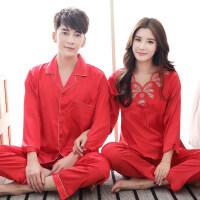 春秋季情侣睡衣男女冰丝长袖韩版夏天可爱红色结婚新婚家居服套装