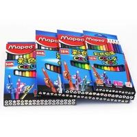 进口法国马培德儿童学生三角形彩色铅笔12色24色36色绘画铅笔
