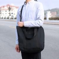 韩国新款简约学生帆布包男女韩版休闲单肩斜挎包手提差包 黑色 现货
