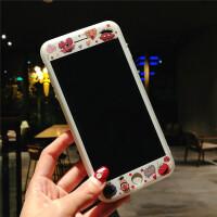 可爱卡通芝麻街苹果8plus手机壳彩膜iPhone7全屏钢化膜6s膜ix 6/6s4.7 白芝麻街 前膜+手机壳