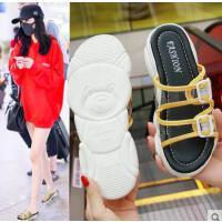新款女鞋百搭平底防滑拖鞋女时尚厚底透明外穿网红凉拖韩版