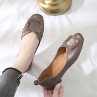韩版女士水钻单鞋休闲舒适平底鞋软底复古女鞋时尚晚晚鞋
