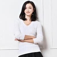 秋冬新款女士V领套头短款修身针织扭花打底衫羊绒衫毛衣显瘦纯色