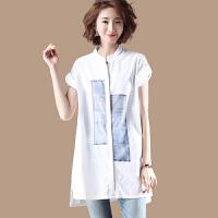 中长款欧根纱拼接立领白色衬衫女夏短袖宽松百搭衬衣KK37 白色 均码 宽松款