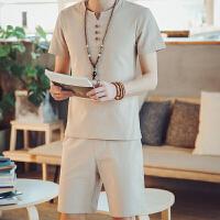 男士短袖t恤男装亚麻V领修身半袖夏季体恤潮牌青年上衣服男套装潮