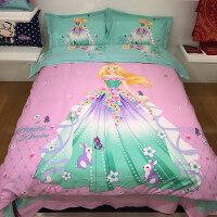 磨毛四件套卡通全棉单人床单被罩公主三件套儿童1.2m女童床品