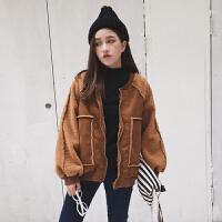 秋冬女装新款韩版宽松加厚保暖鹿皮绒羊羔毛夹克外套棉衣显瘦