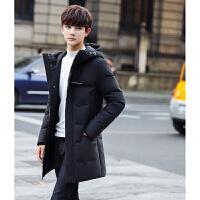 冬季男士羽绒服男修身韩版潮流中长款连帽加厚冬装青年帅气潮外套