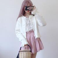秋冬新款甜美日系纯色喇叭袖单排扣针织开衫短款荷叶边毛衣外套女 白色 均码